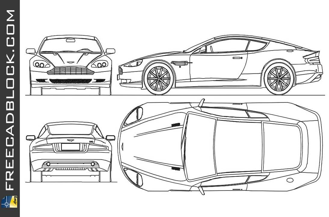 Aston Martin Db9 2004 Dwg Drawing In Autocad 2d Free