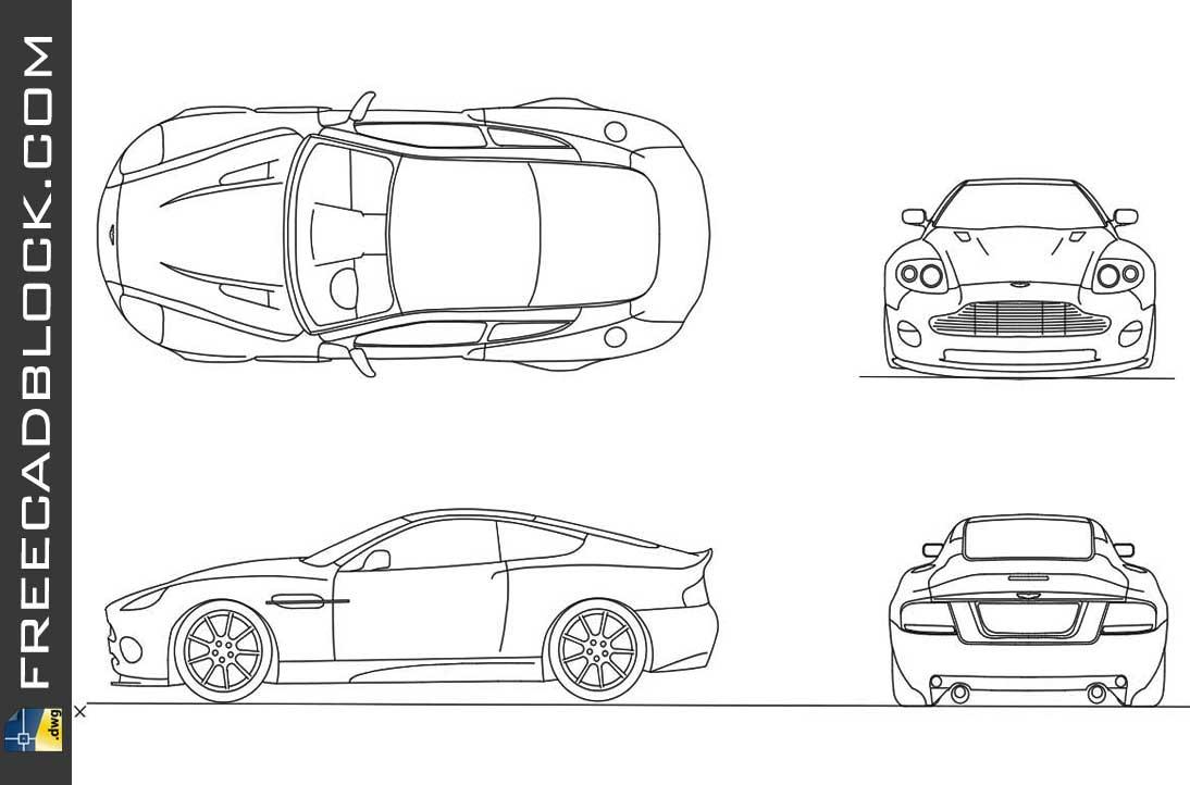 Drawing Aston martin v12 vanquish 2001 dwg