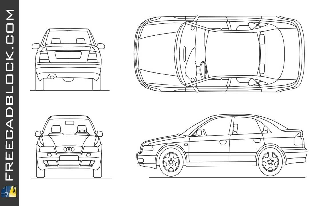 Drawing Audi A4 dwg autocad blocks