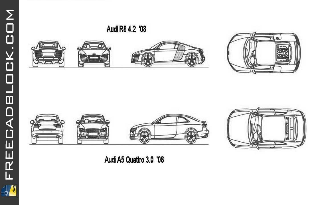 Drawing Audi Cars Blocks dwg
