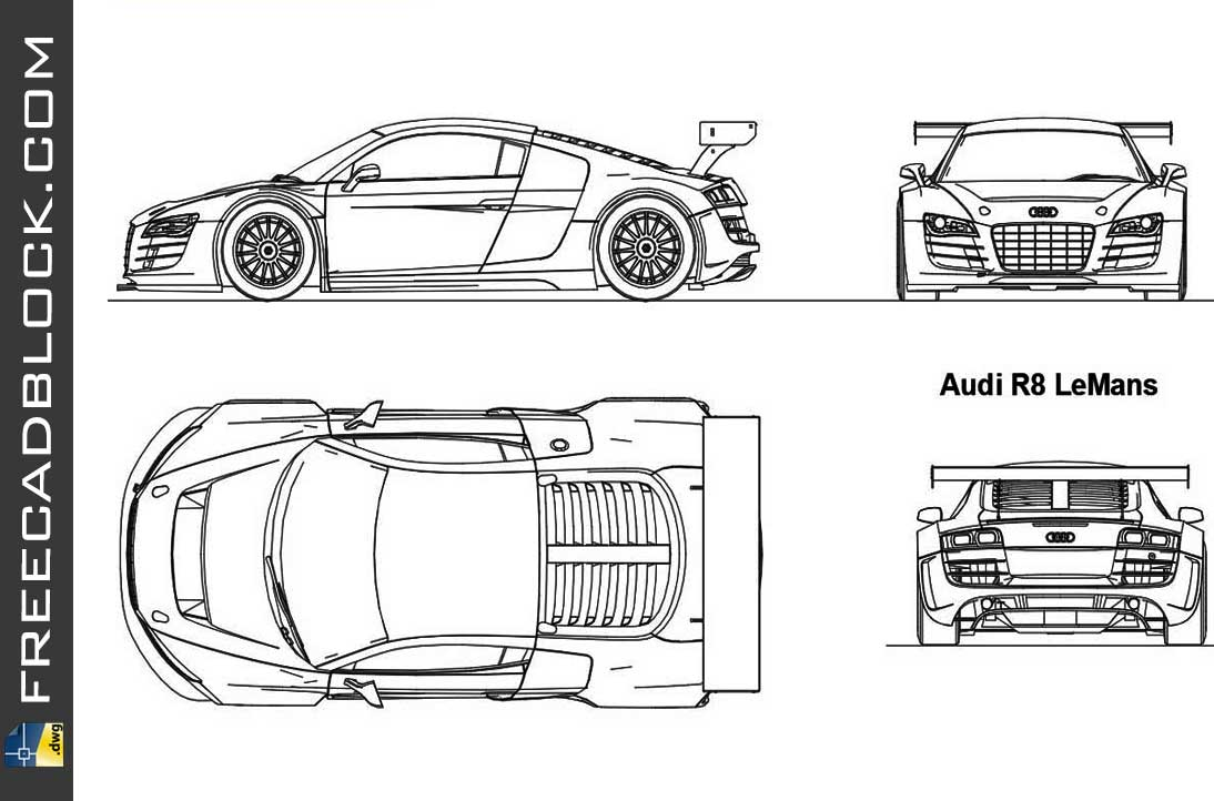 Drawing Audi R8 LeMans dwg