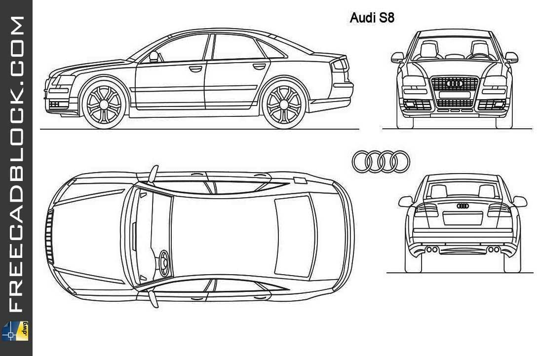 Drawing Audi S8 dwg
