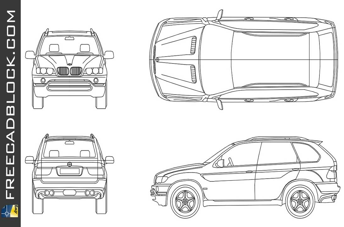 Drawing BMW X5 dwg autocad blocks