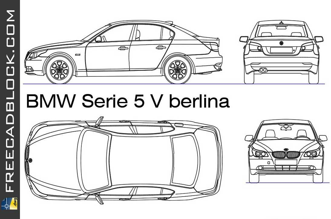 Drawing BMW serie 5 berlina dwg