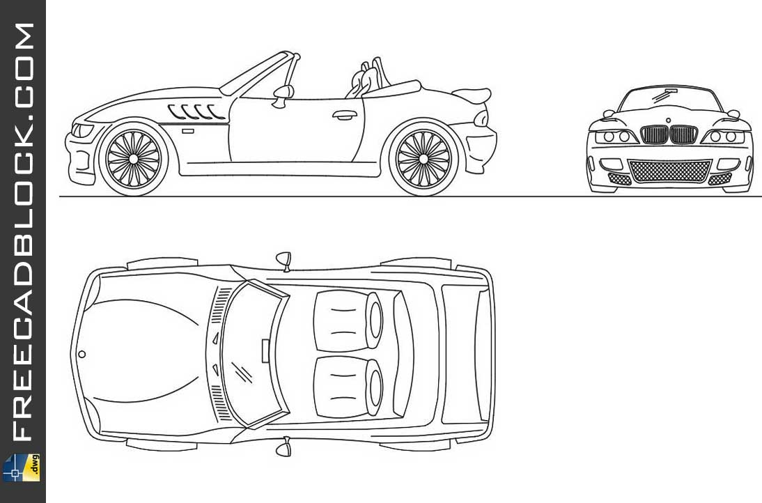 Drawing Bmw Z3 dwg in Autocad
