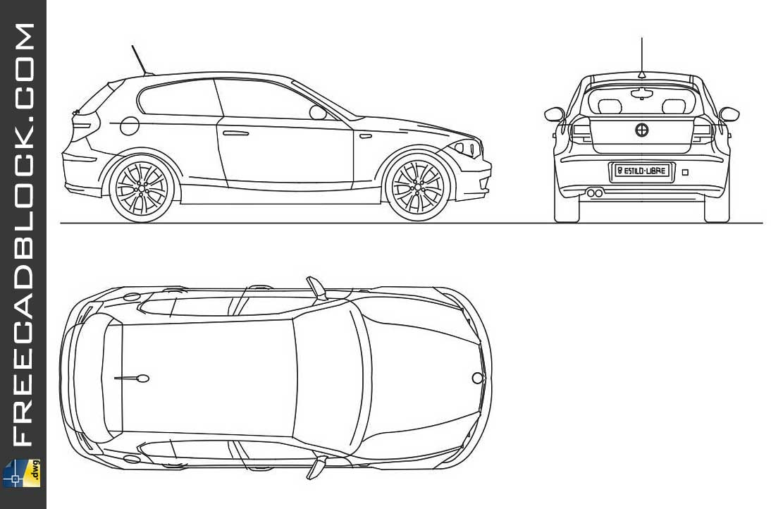 Drawing Bmw seriol 1 dwg in Autocad