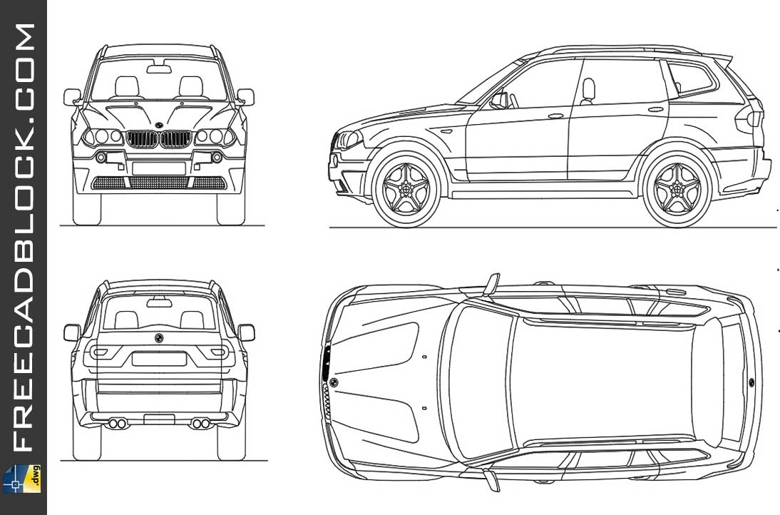 Drawing Bmw x3 dwg in Autocad