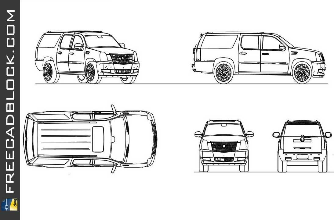 Drawing Cadillac escalade 2013 dwg