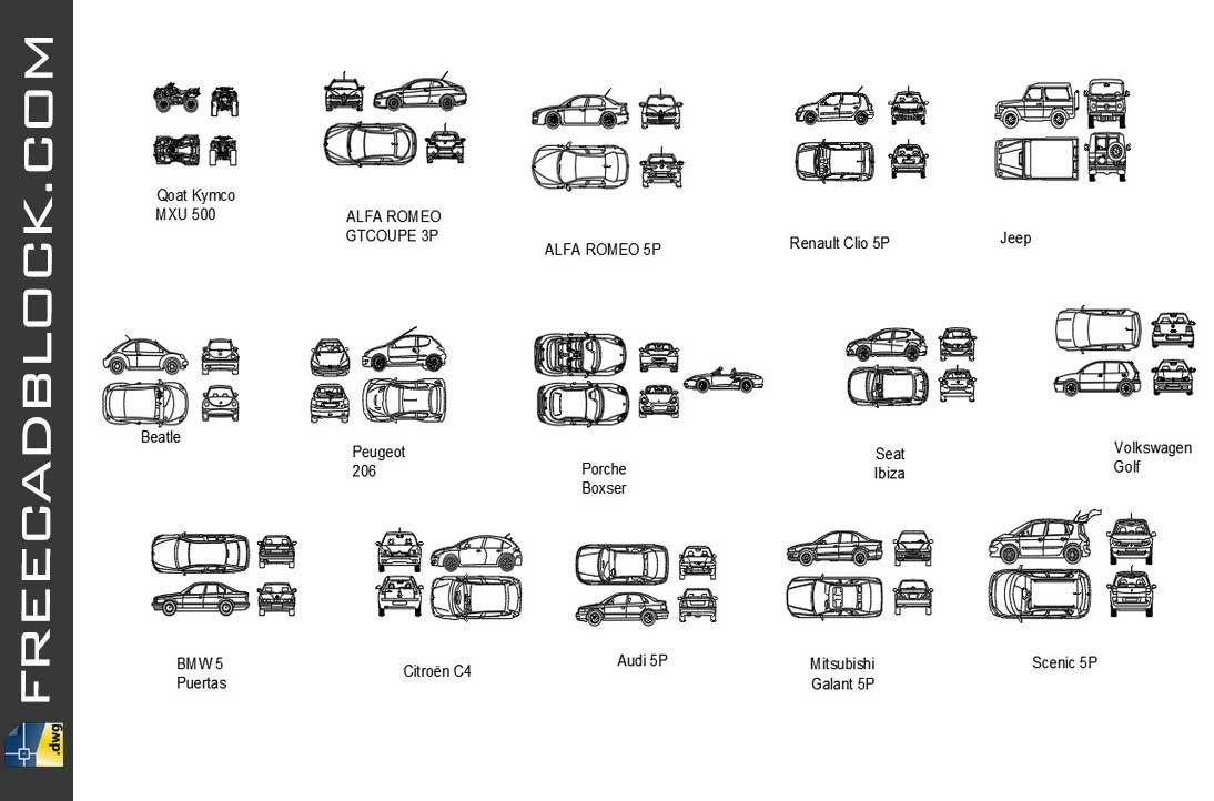 Drawing Cars blocks in Autocad