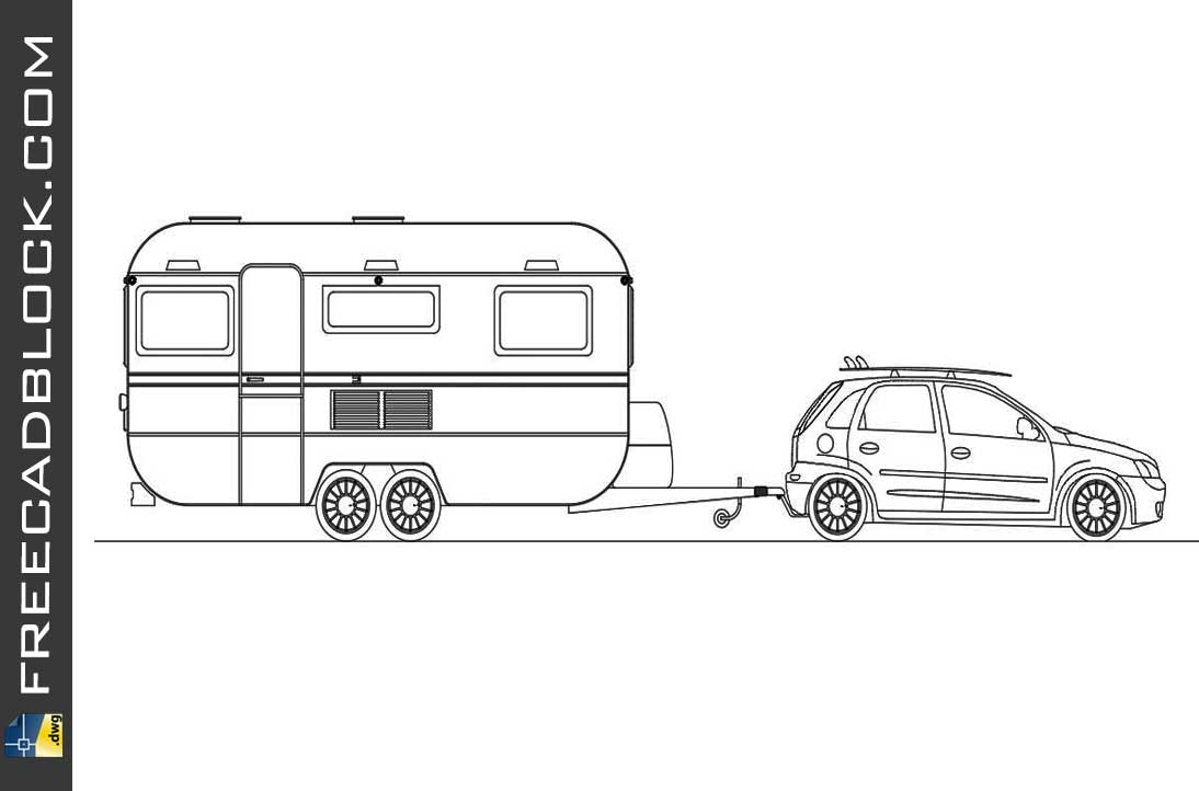 Drawing Chevrolet corsa trailer dwg cad