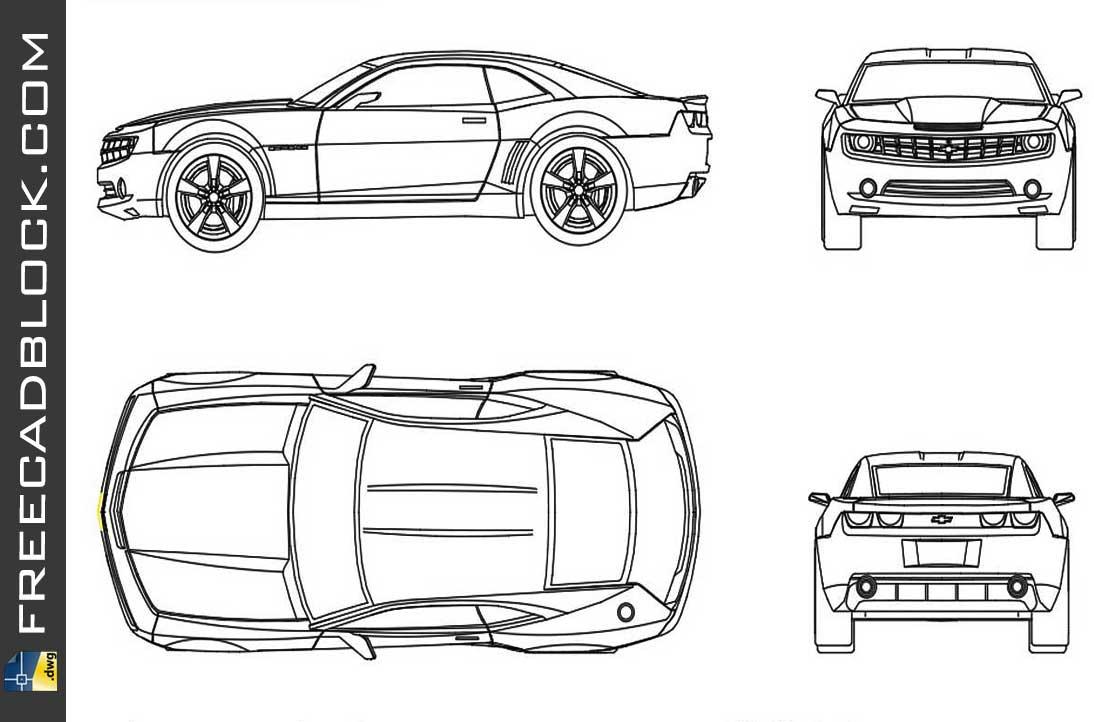 Drawing Chevrolete Camaro 2011 dwg