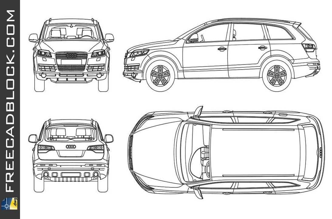 Drawing Audi Q7 dwg in Autocad