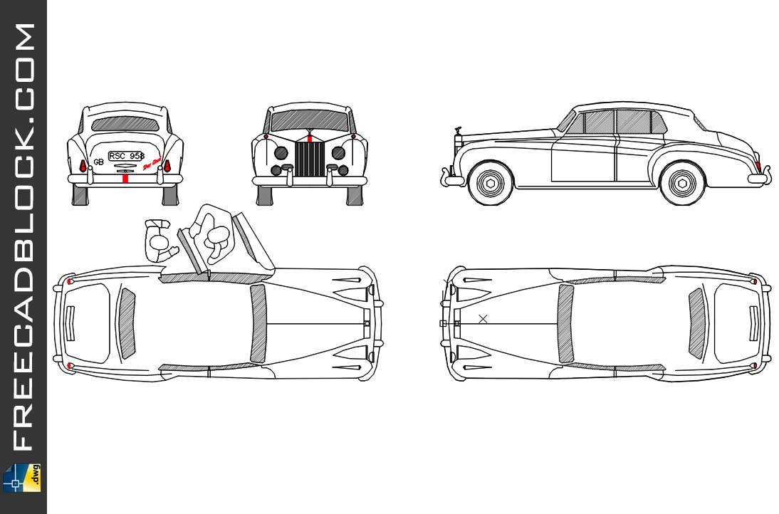 1955 Rolls Royce Silver Cloud DWG Download Drawing