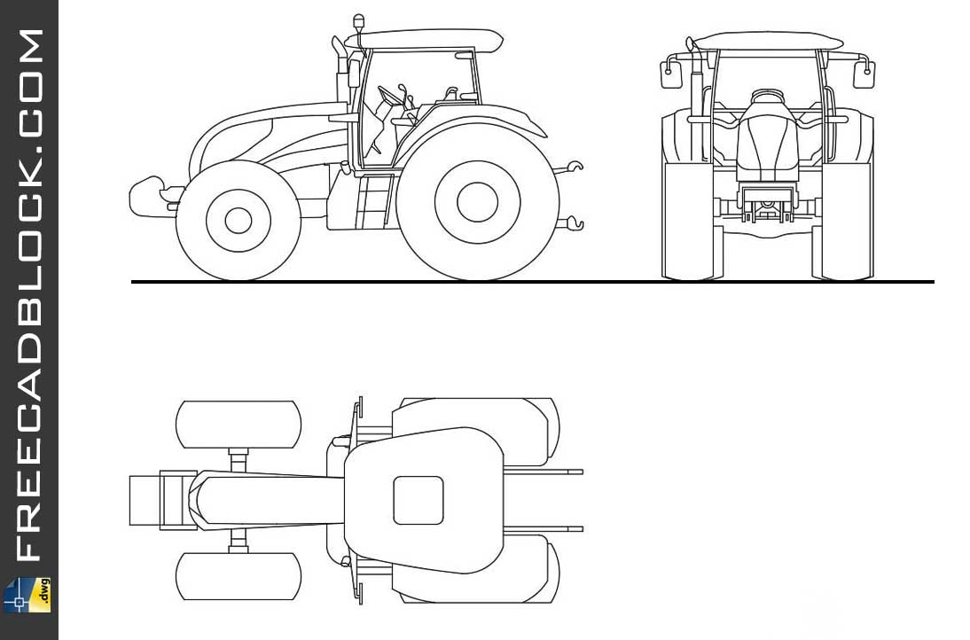 Drawing Agricultural Tractor dwg in Autocad