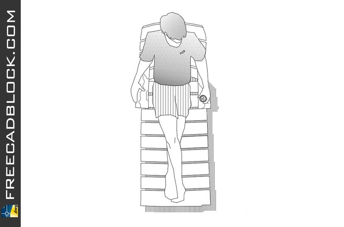 Drawing 1 Beach chair with person, top view dwg autocad