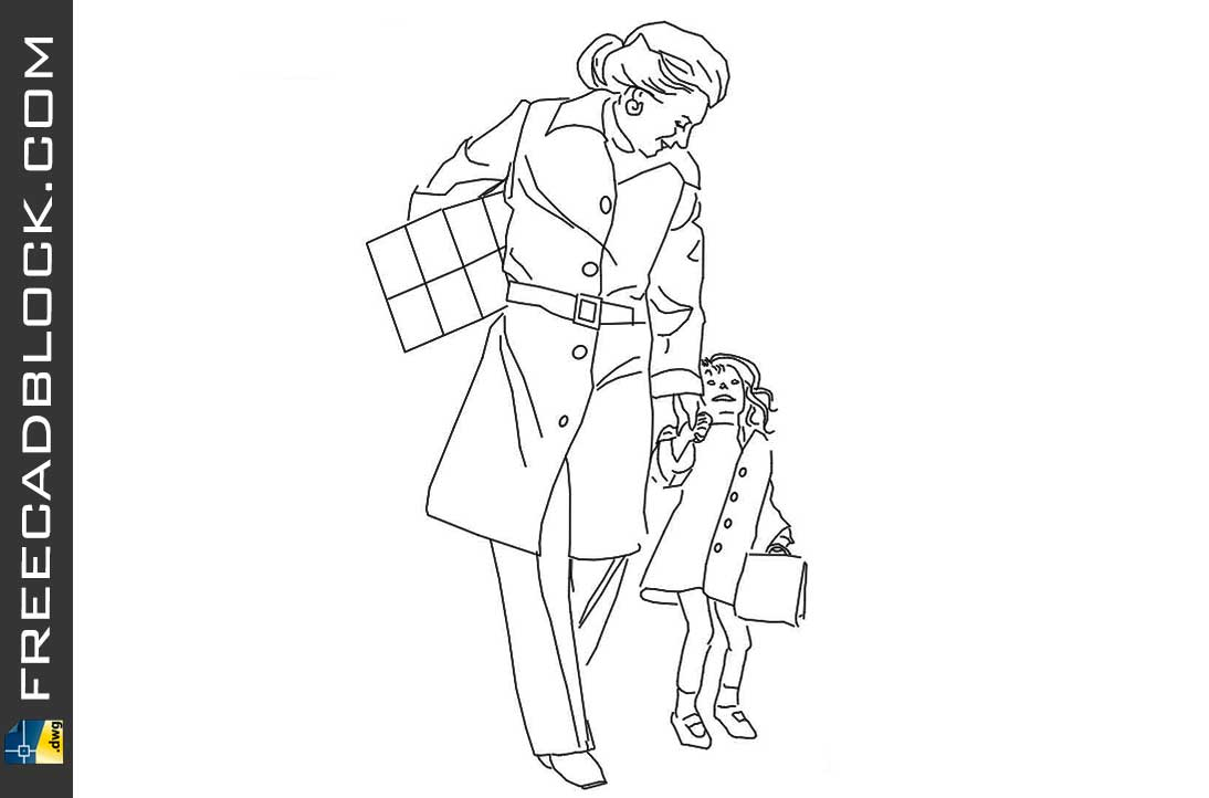 Drawing Block of people with children dwg blocks