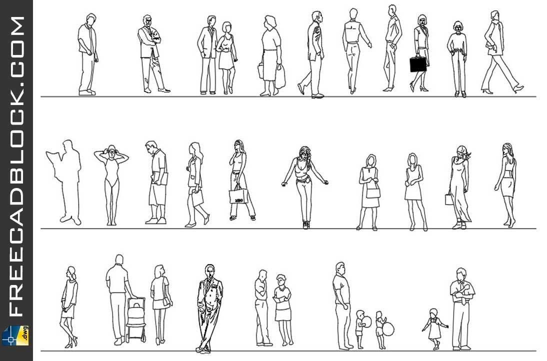 Drawing Blocks 2d people dwg