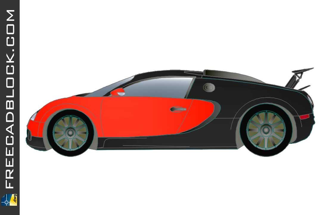 Bugatti Veyron Rojo dwg drawing in Autocad