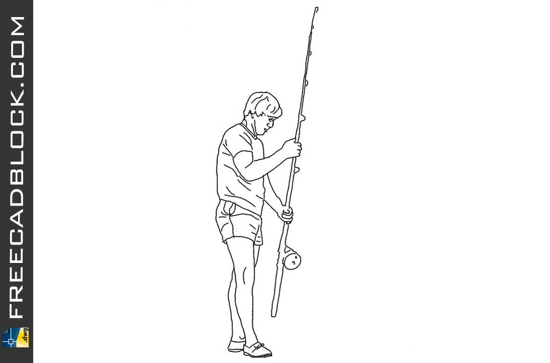 Drawing Boy with fishing rod dwg