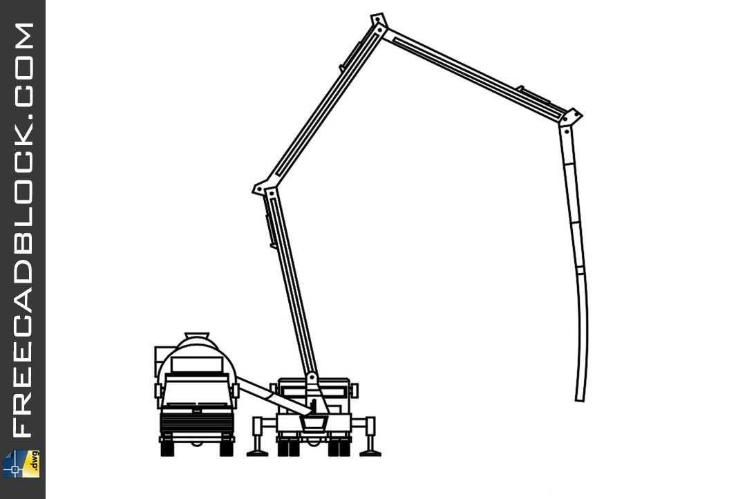 Drawing Concrete Pump and Cement Mixer dwg