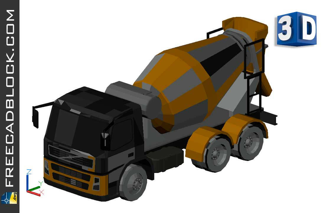 Concrete truck Volvo FM12 Dwg in Autocad drawing