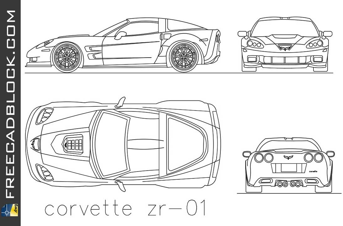 Drawing Corvette ZR 01 dwg in Autocad