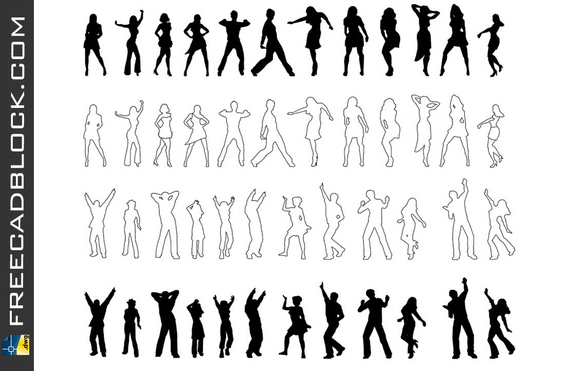 Drawing Dancing people dwg in Autocad