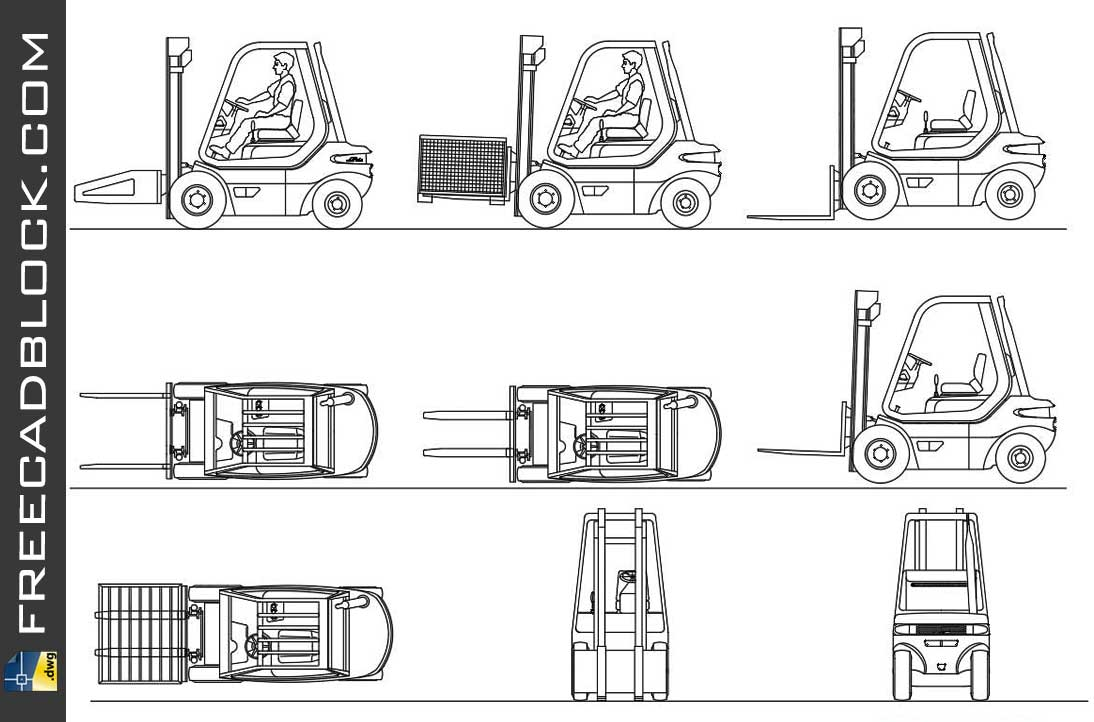 Drawing Forklifts views dwg in Autocad