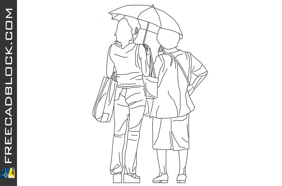 Drawing Girl and lady with umbrella dwg in CAD