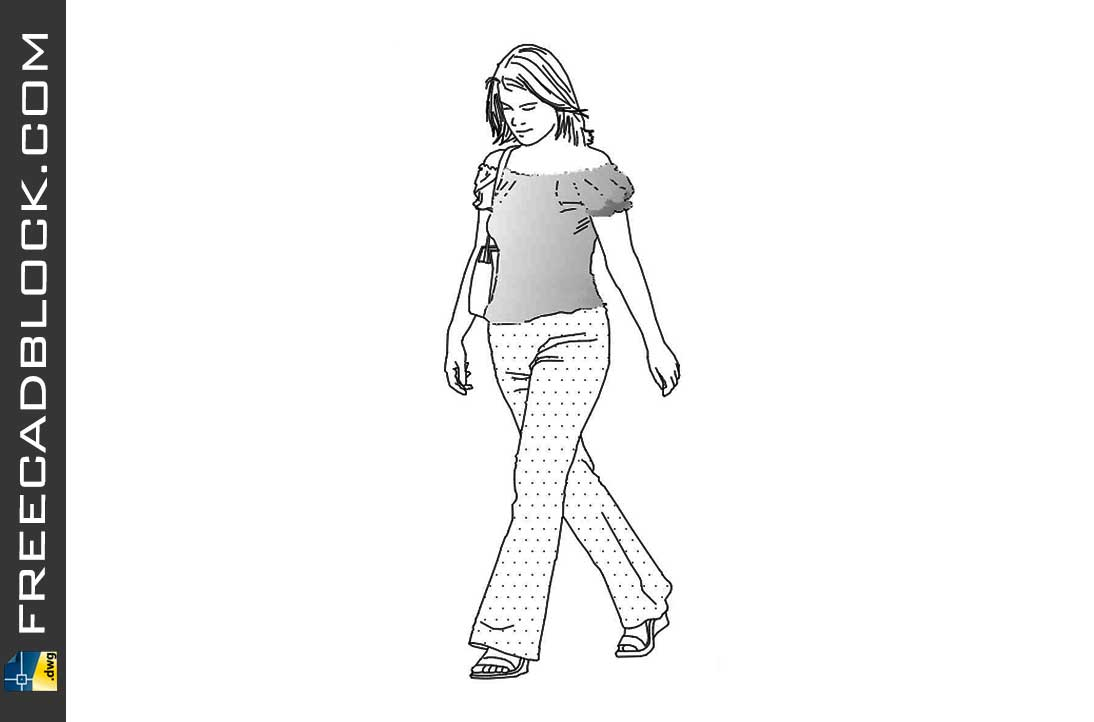 Drawing Girl in casual summer suit dwg in CAD