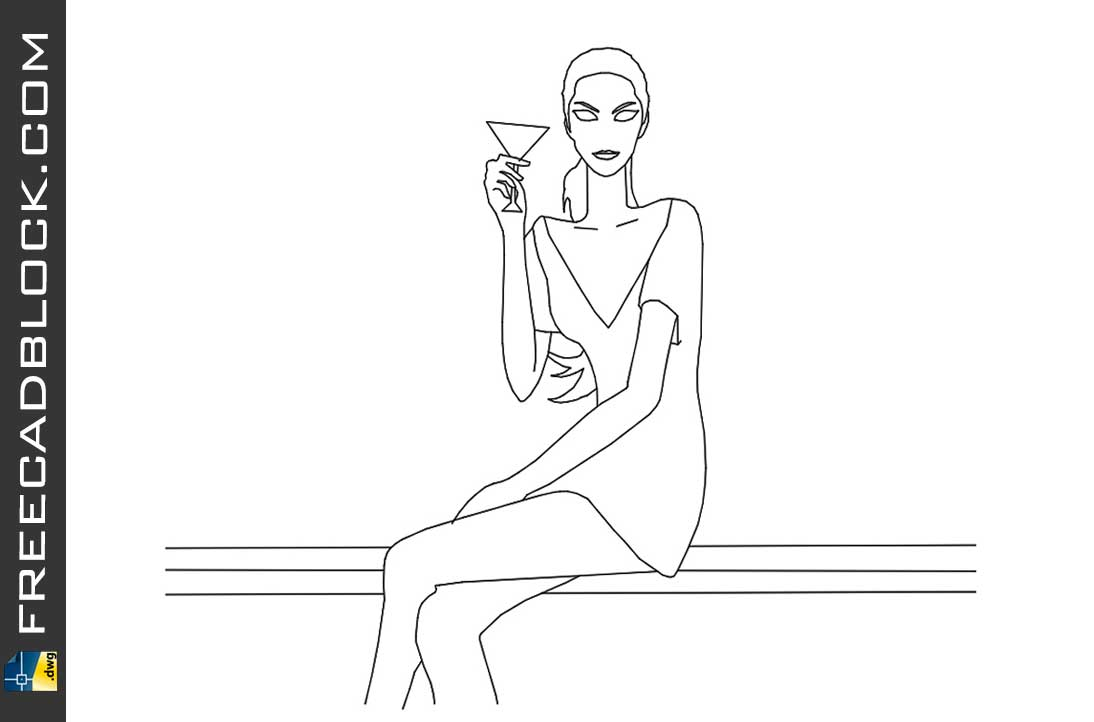 Drawing Girl sitting dwg in Autocad