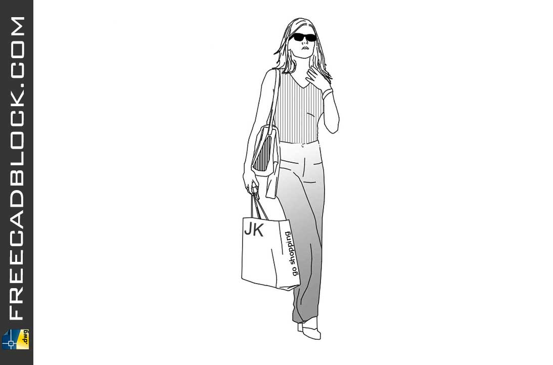 Drawing Girl with shopping bag dwg in Autocad