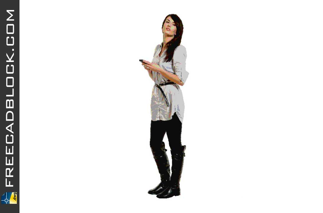 Drawing Girl with smartphone dwg in Autocad