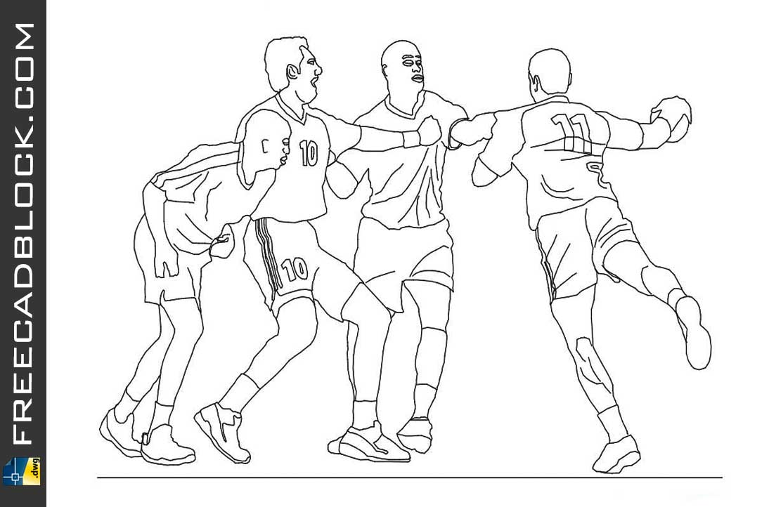 Drawing Handball players dwg in Autocad