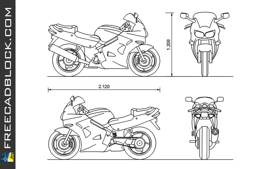 Drawing Honda VFR 800 dwg for Autocad