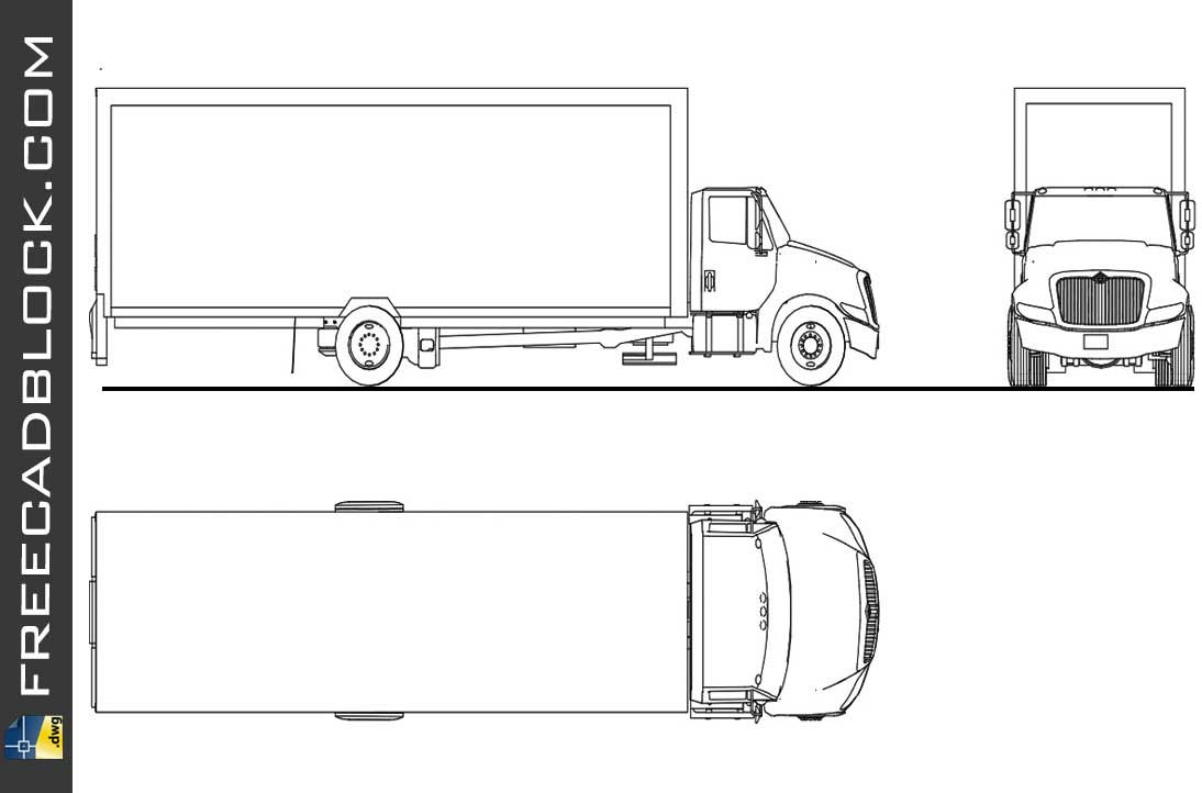 Drawing International truck dwg in Autocad