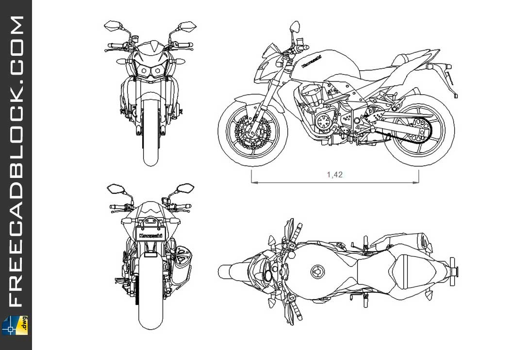 Drawing Kawasaki Z750 dwg for Autocad