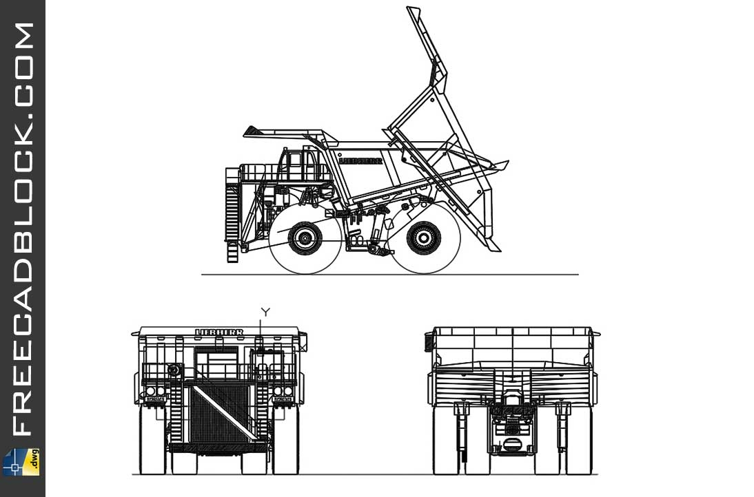 Drawing Mining truck dwg in Autocad