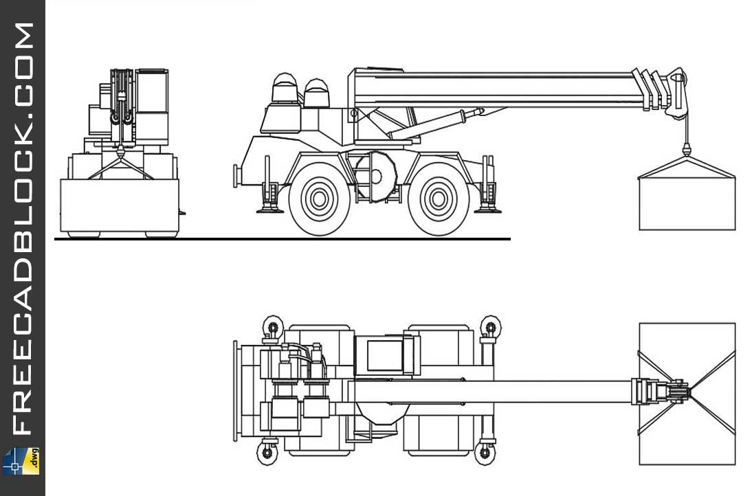 Drawing Mobile crane on tires dwg in Autocad