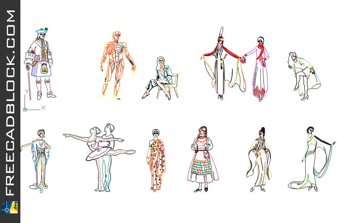 Drawing People in national dress dwg