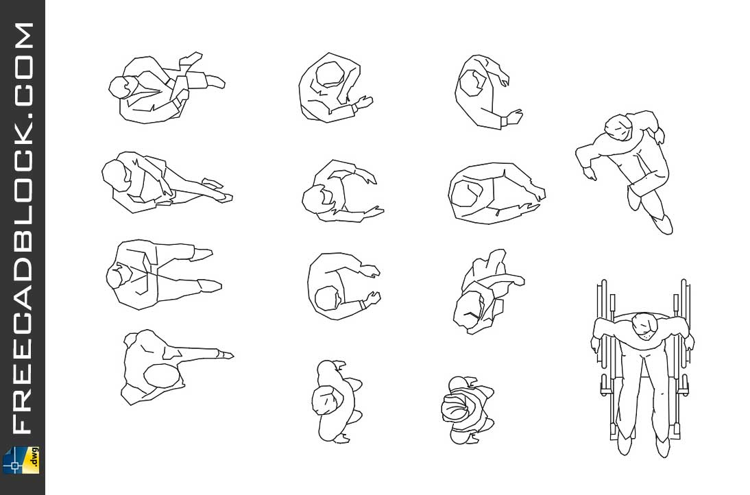 Drawing People top view dwg in Autocad