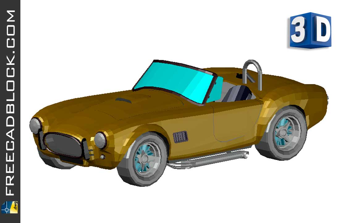Drawing Shelby Cobra 3D dwg in Autocad