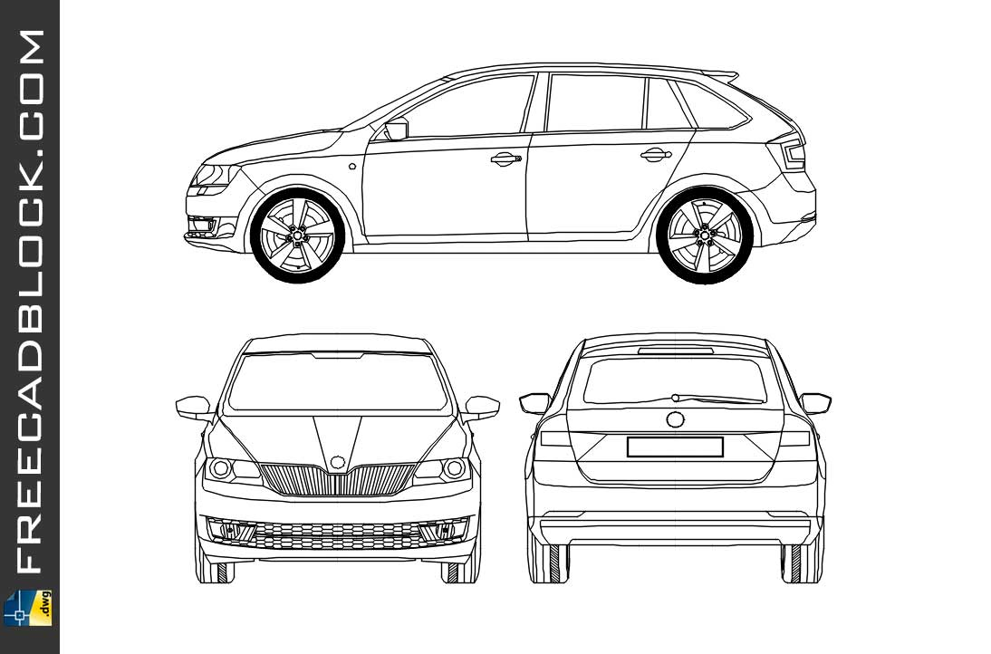 Drawing Skoda Rapid Spaceback Dwg in Autocad