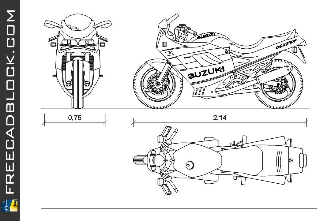 Drawing Suzuki GSX 750F dwg for Autocad