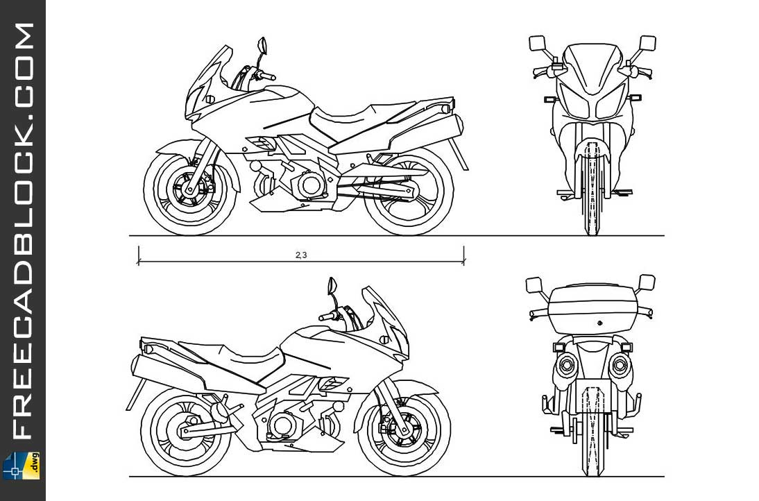 Drawing Suzuki V-Strom dwg for Autocad
