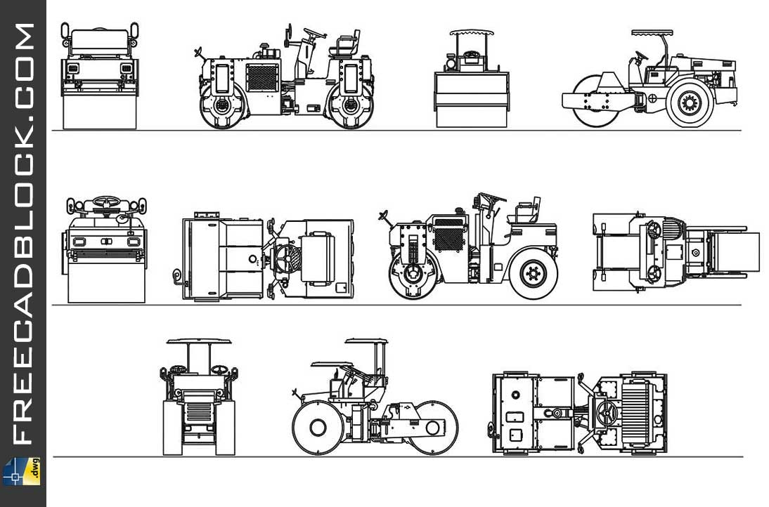 Drawing Tractors with compacting rollers dwg in Autocad
