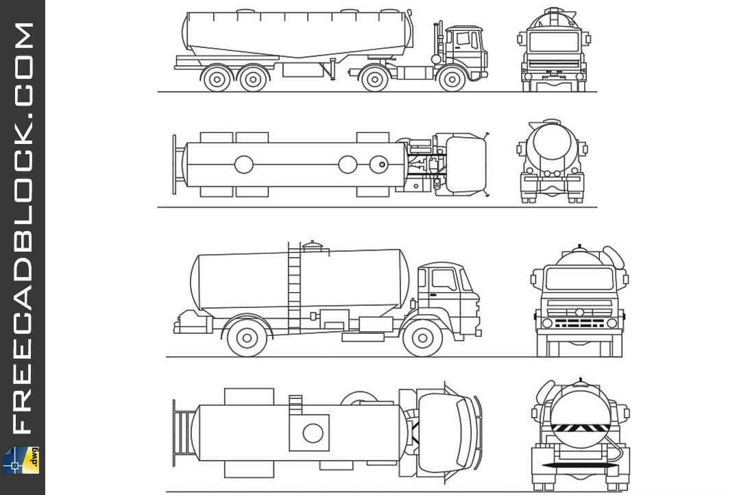 Drawing truck for transportation of liquids dwg in Autocad