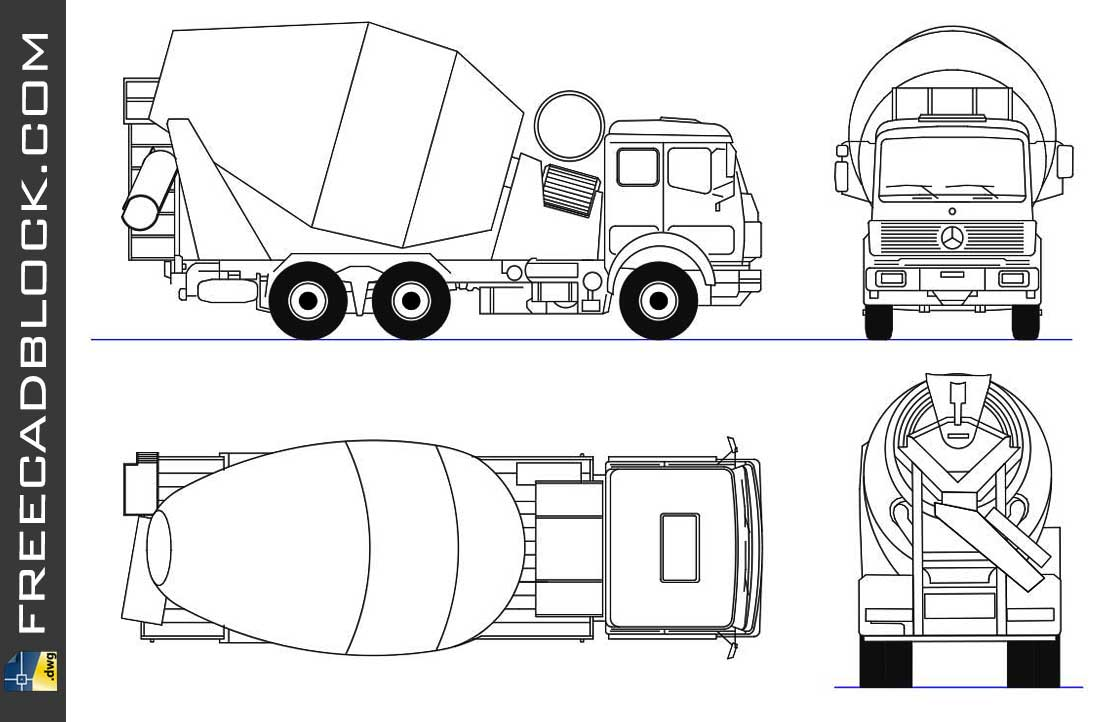 Drawing Truck mixer views dwg in Autocad