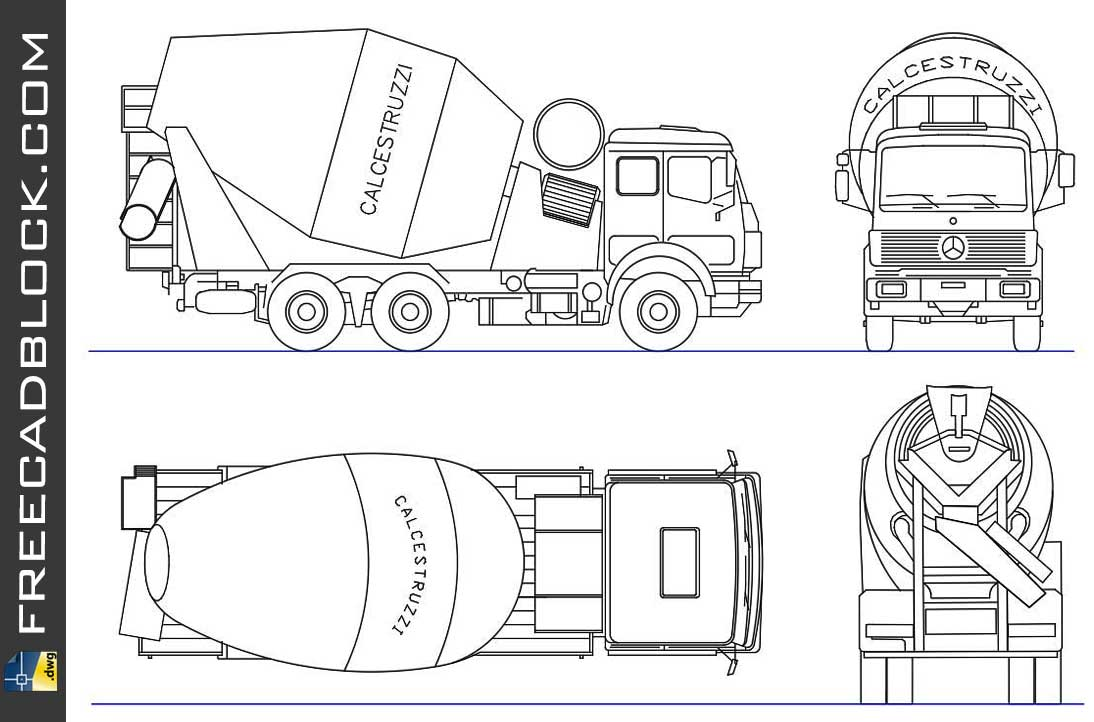 Drawing truck with concrete mixer dwg