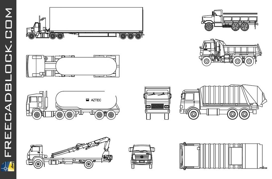 Drawing Trucks Cad dwg in Autocad